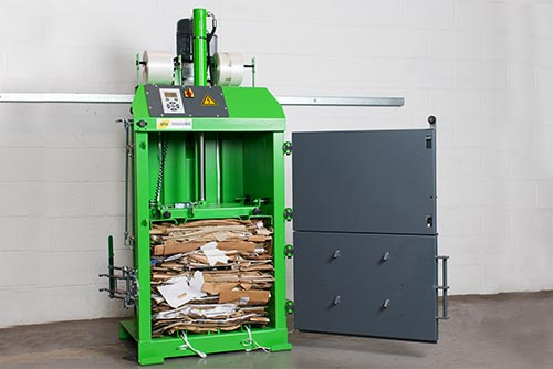 phs waste kit green baler with plastic wrapping inside