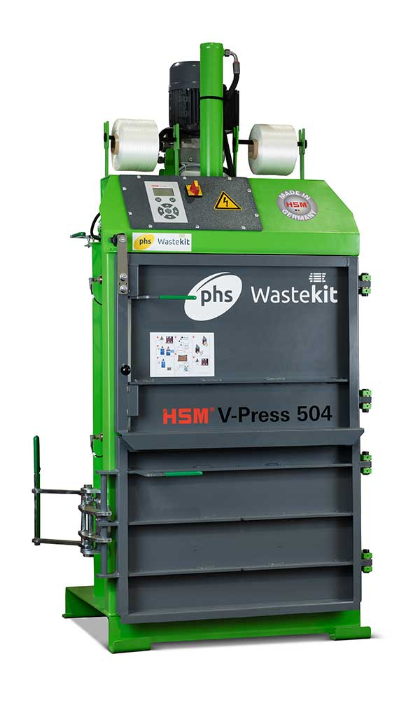 phs wastekit v press 504 eco vertical cardboard baler