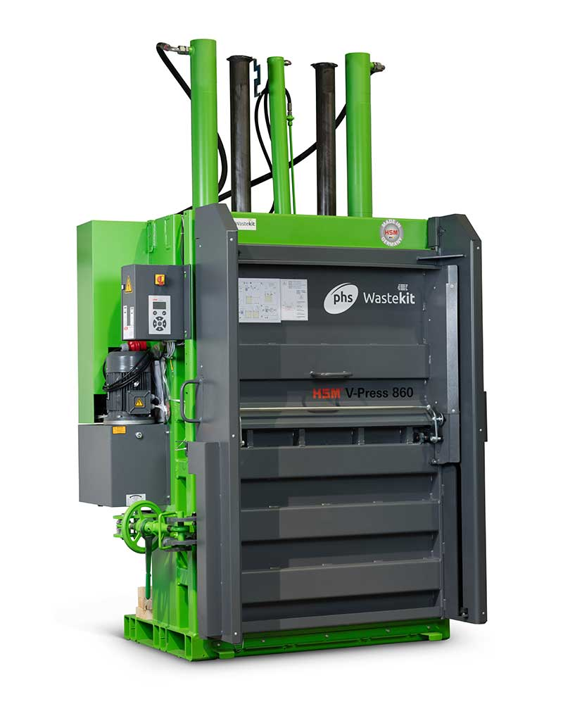 phs wastekit 860 vertical pro baler for cardboard waste